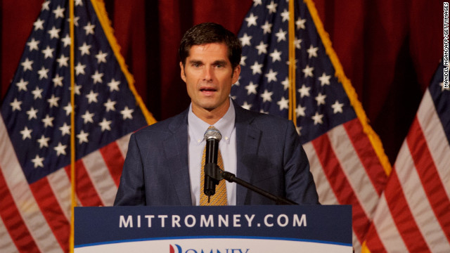 Matt Romney introduces his father at a fundraiser in San Diego in 2012.