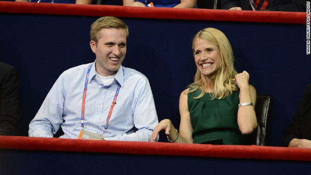 Mitt Romney's son Ben watches the proceedings during the 2012 GOP convention with Janna Ryan, vice presidential candidate Paul Ryan's wife.