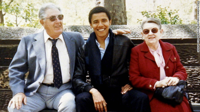 President Obama with his maternal grandparents, Stanley and Madelyn Dunham, in an undated family snapshot.