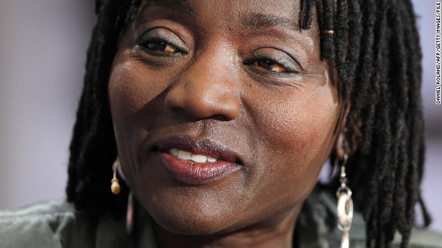 "Auma Obama, half sister of President Barack Obama, presents her new book ""Das Leben kommt immer dazwischen"" at the book fair in Frankfurt, Germany, in 2010."