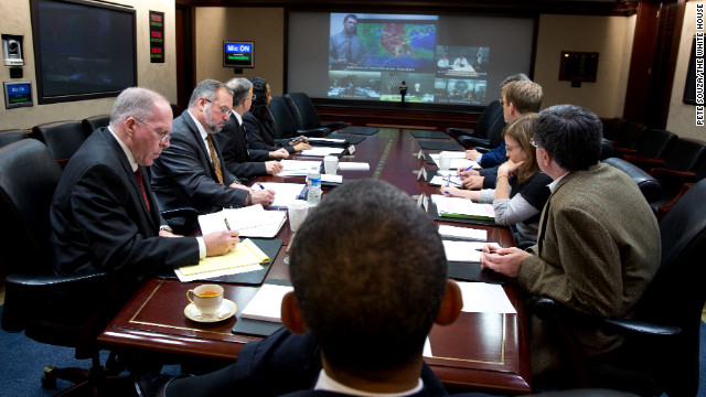 Obama receives an update on the response to Hurricane Sandy in the Situation Room of the White House on Oct. 29 2012. 