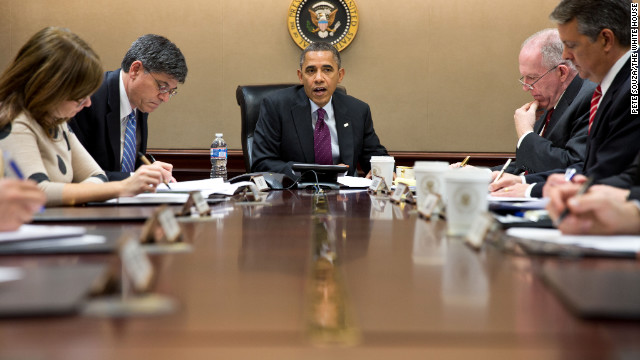Obama receives an update on the Hurricane Sandy response in the Situation Room of the White House on Oct. 30, 2012.
