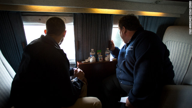 Obama and New Jersey Gov. Chris Christie look at storm damage along the coast of New Jersey on Marine One on Oct. 31, 2012.