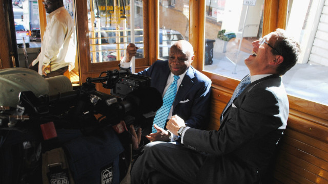 CNN's Richard Quest shares a joke with former San Francisco Mayor and Democrat Willie Brown on the final leg of his tour across the U.S.