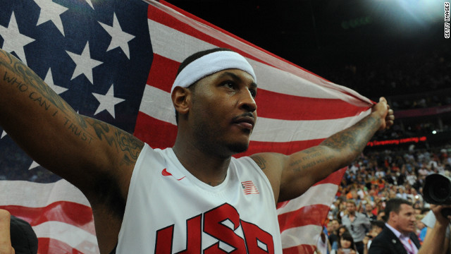 Basketballer Carmelo Anthony, seen here celebrating 2012 Olympic gold, is in no doubt as to who he can trust, helping Obama during a fund-raising day in New York in August.