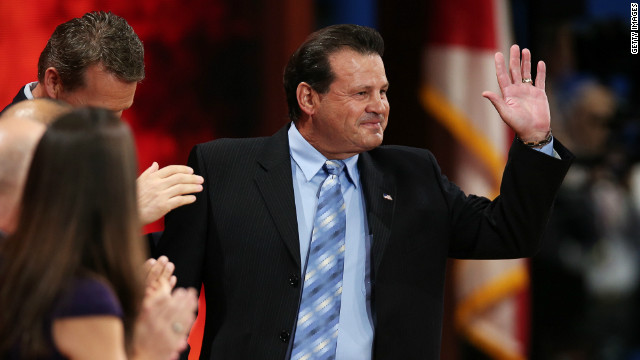 Michael Eruzione, who captained the United States' ice hockey team to their stunning 'Miracle on Ice' victory over the Soviet Union in 1980, is introduced at the Republican National Convention in August, when he gave his backing to Romney.