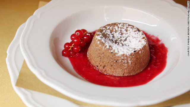 Molten chocolate cake with red currants provides a fitting feast's end.