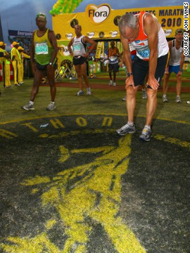 Runner's World editor Bart Yasso crossed the finish line exhausted after the 2010 Comrades Marathon in South Africa.<!-- --> </br>