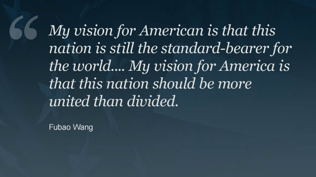 <a href='http://ireport.cnn.com/people/Torch2012'>Fubao Wang</a> became a U.S. citizen 10 years ago. You can read <a href='http://ireport.cnn.com/docs/DOC-871637'>his vision for America on CNN iReport</a>.