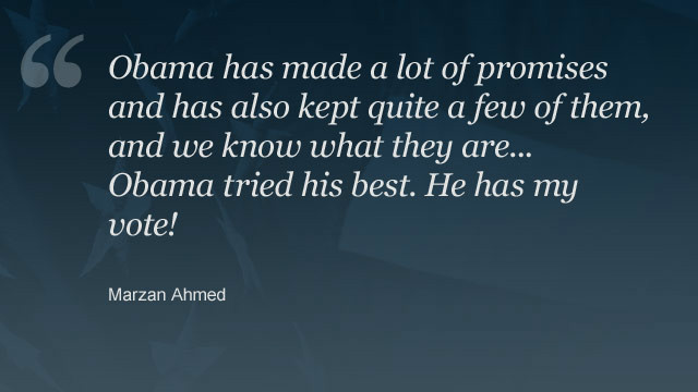 Commenter <a href='http://www.cnn.com/2012/11/02/opinion/romney-vision-for-america/index.html#comment-698520801'>Marzan Ahmed</a> explains why he is voting for Obama.