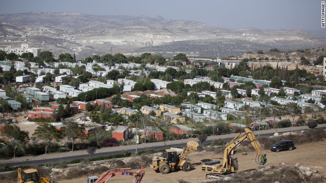 Bulldozers begin constructing a new neighborhood in the Ariel settlement in the West Bank on September 27, 2010.