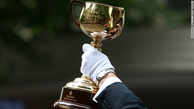 This is what they're all competing for: The Melbourne Cup. It's shown here during the annual Melbourne Cup Parade through the city on November 5.