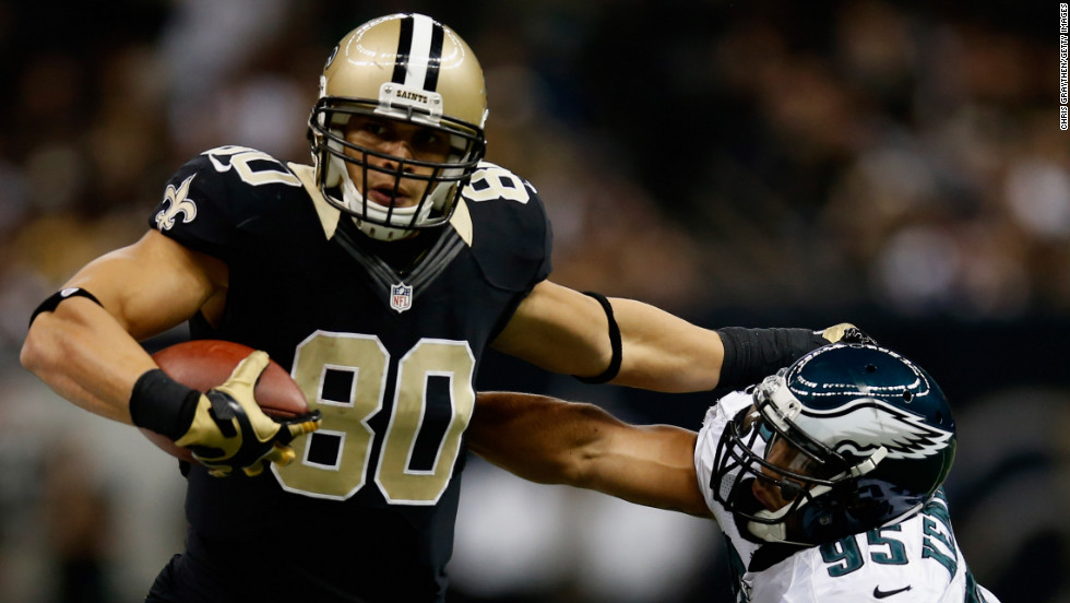 Jimmy Graham of the New Orleans Saints is pushed out of bounds by Mychal Kendricks of the Philadelphia Eagles on Monday, November 5, at the Mercedes-Benz Superdome in New Orleans. Check out the action from Week 9 of the NFL, or &lt;a href='http://www.cnn.com/2012/10/25/worldsport/gallery/nfl-week-8/index.html'&gt;look back at the best from Week 8&lt;/a&gt;.