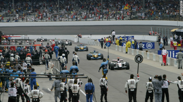 A dispute over tire safety saw the 2005 U.S. GP at Indianapolis descend into farce. Only six cars contested the race as the rest of the field peeled off into the pits before it began.