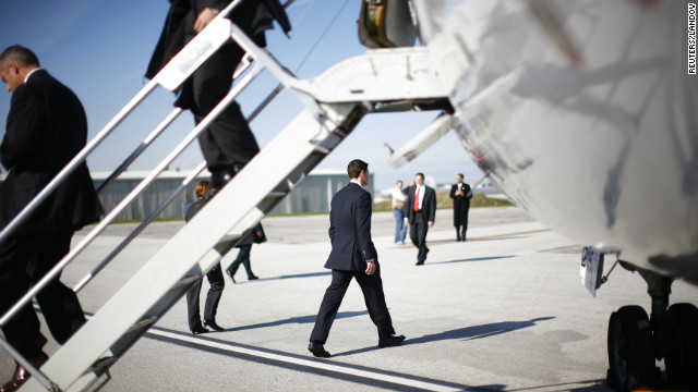 Republican vice presidential candidate Paul Ryan left a campaign plane in Cleveland, Ohio.
