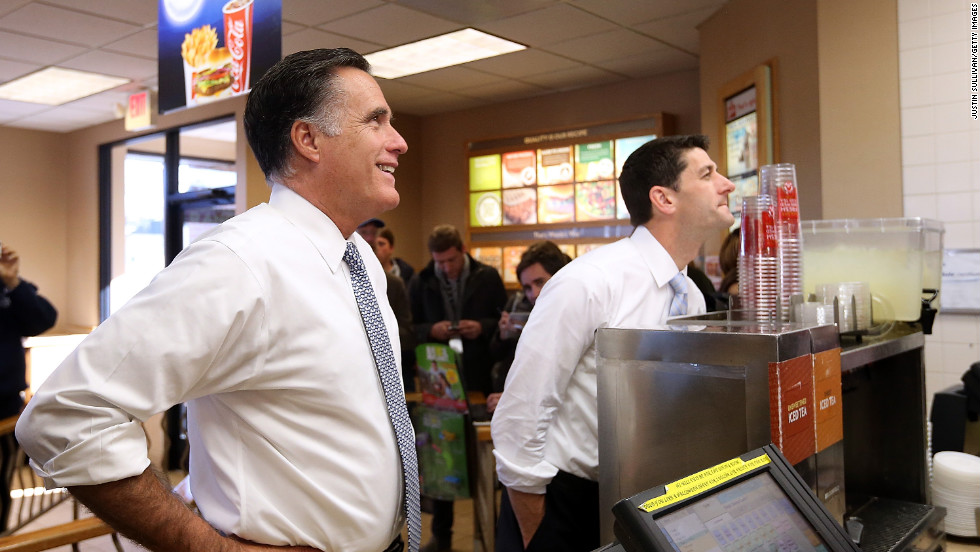Republican presidential candidate Mitt Romney and his running mate, Rep. Paul Ryan, order food at a Wendy's restuarant in Richmond Heights, Ohio, on Tuesday.