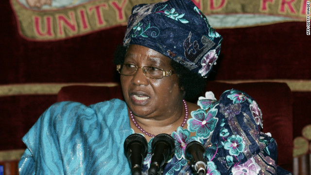 Malawi's President Joyce Banda speaks during a meeting with Former British Prime Minister Tony Blair at Sanjika Palace in Blantyre, Malawi, on August 30.