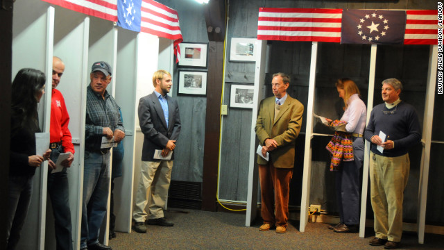 Voters in Dixville Notch, New Hampshire, waited shortly after midnight to cast the first Election Day ballots of the U.S. presidential race. For the first time in the village's history, there was a tie.
