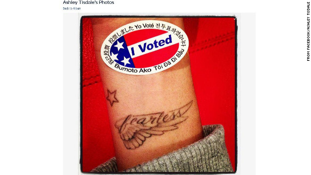 "Ashley Tisdale picked a unique spot to place her ""I Voted"" sticker on November 6."