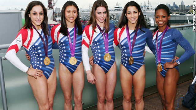 It's hard to ignore the muscles sported by the U.S. women's Olympic gymnastics team. All-around gold medalists, from left, Jordyn Wieber, Kyla Ross, McKayla Maroney, Aly Raisman and Gabrielle Douglas show it takes dedication and strength to fly high. 