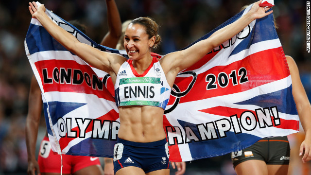 Jessica Ennis beat her closest opponent in the 2012 Olympic heptathlon event &lt;a href='http://www.telegraph.co.uk/sport/olympics/athletics/9452762/Jessica-Ennis-crowns-stunning-Olympic-gold-medal-heptathlon-victory-with-blistering-800m-run.html' target='_blank'&gt;by more than 300 points&lt;/a&gt;. &lt;a href='http://www.dailymail.co.uk/news/article-2183583/The-golden-girl-delivers-Jessica-Ennis-crowned-Olympic-heptathlon-champion-winning-800m-jubilant-Olympic-Stadium-crowd.html' target='_blank'&gt;Ennis earned her gold medal&lt;/a&gt; by participating in the 100-meter hurdles, the high jump, the shot put, the 200-meter race, the long jump, the javelin throw and the 800-meter race. 
