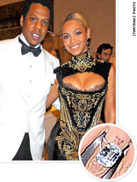 Jay-Z proposed to Beyonce with an 18-carat diamond ring; the couple married in 2008.