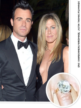 Justin Theroux proposed to actress Jennifer Aniston in August 2012 with an oval diamond estimated to be between 12 and 18 carats.