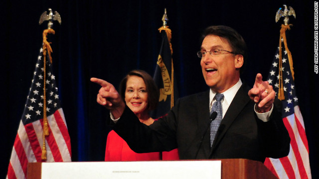 Republican Pat McCrory celebrates his victory in the North Carolina gubernatorial race over Democrat Walter Dalton .