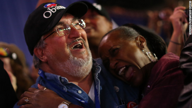 Obama supporters beamed and cheered as he delivered an inspiring and inclusive victory speech.