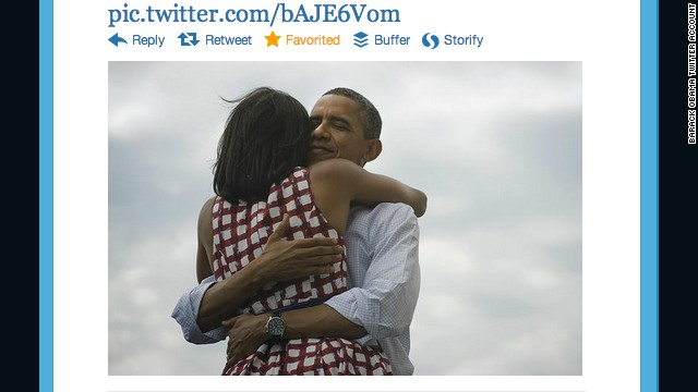 This tweet by President Obama's account, shortly after his re-election on November 5, 2012, became the most retweeted post of all time.