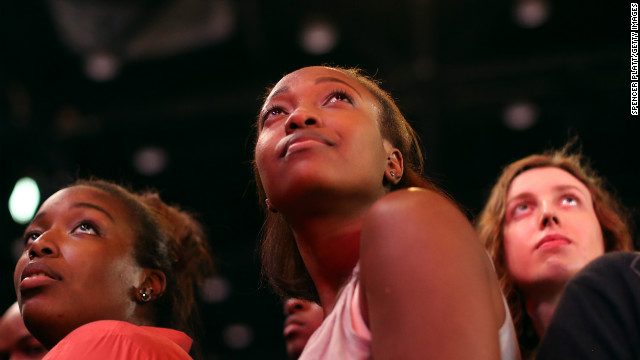 Young Obama supporters watched the president stride onto the stage to deliver his victory speech.
