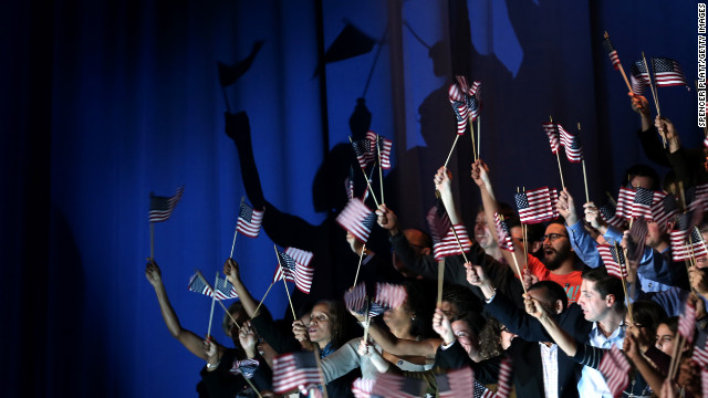 Flags fluttered in Chicago as President Barack Obama delivered his victory speech after being reelected for a second term.