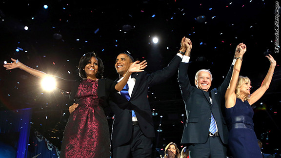 CHICAGO, IL - NOVEMBER 06: U.S. President Barack Obama stands on stage with first lady Michelle Obama, U.S. Vice President Joe Biden and Dr. Jill Biden after his victory speech on election night at McCormick Place November 6, 2012 in Chicago, Illinois. Obama won reelection against Republican candidate, former Massachusetts Governor Mitt Romney. (Photo by Chip Somodevilla/Getty Images)