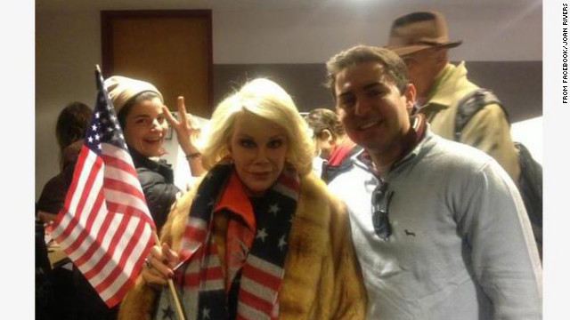 While voting November 6, Joan Rivers &quot;met a wonderful guy named Eric on line to vote,&quot; she posted on Facebook. &quot;The line was so long but Eric saved my day and held my place!&quot;