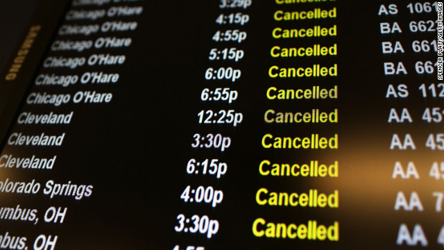 Hundreds of flights canceled because of nor&#039;easter