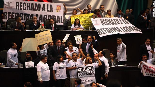 La Camara de Diputados de México aprueba la reforma laboral en lo general