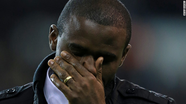 Fabrice Muamba wept as he addressed the crowd at White Hart Lane -- the English soccer ground where he collapsed due to cardiac arrest during a match in March.