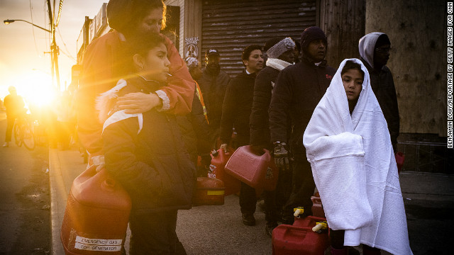 November 8: Hundreds of New Yorkers from Rockaway wait in line for gasoline in the aftermath of Sandy.