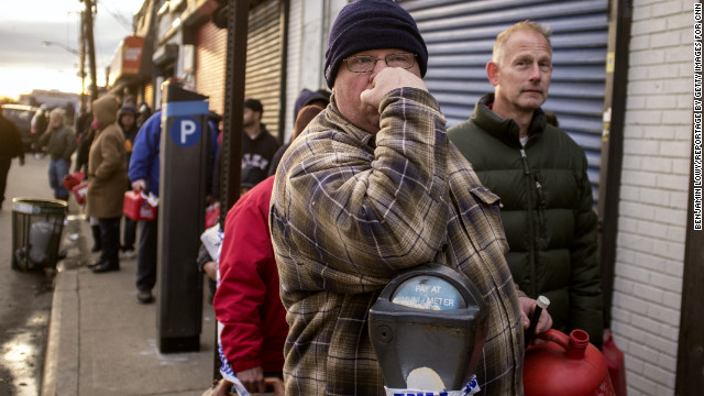 Rockaway residents wait in line for gas.