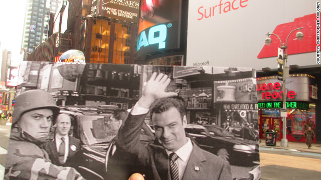 Rep. Raymond Shaw (Liev Schreiber) waves to supporters as he seeks the vice presidency. Fans of psychological thrillers will recognize the corner he's standing on -- Broadway and 43rd Street -- as the corner Tom Cruise runs past in the movie &quot;Vanilla Sky.&quot;