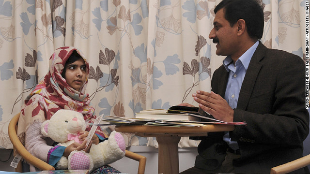 Malala talks with her father, Ziauddin, at the Queen Elizabeth Hospital. In Pakistan's Swat Valley, Malala fought for girls' rights to have an education. Girls were banned from schools in the Swat Valley in 2009. Malala anonymously blogged for the BBC in opposition to that order, drawing the Islamist militants' rage.