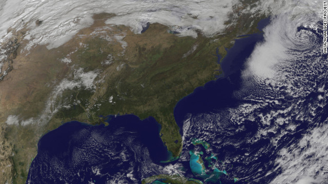 More than one week after Superstorm Sandy hit, the Northeast prepares for a nor'easter, a strong low pressure system with powerful northeasterly winds coming from the ocean ahead of a storm. This satellite image captured at 11:01 a.m. ET on Friday, November 9, shows the winter storm over the East Coast. See photos of the aftermath of Superstorm Sandy.<br/><br/>