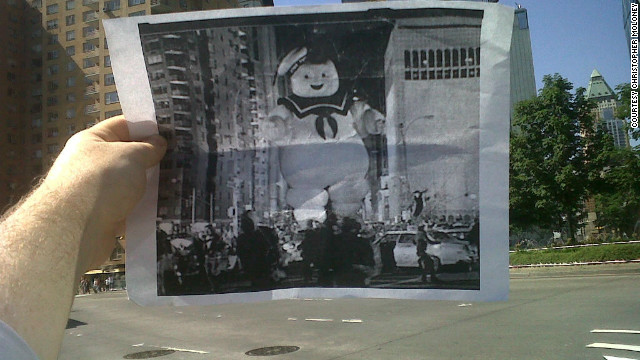 "This summer, CNN writer Christopher Moloney (of ""Erin Burnett OutFront"") noticed that he had the same commute to work as the Stay Puft Marshmallow Man. Inspired, he printed off a black and white screen grab of the scene from ""Ghostbusters"" and snapped a photo. He posted it online, his friends and family loved it, and his blog FILMography was born.<br/><br/>"