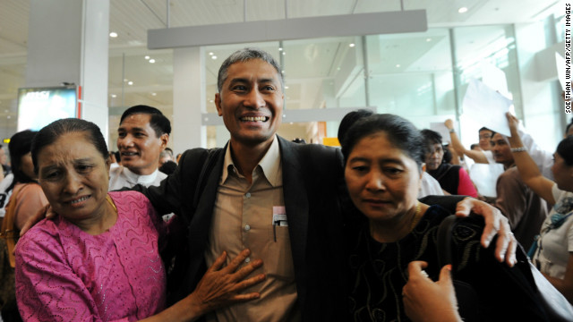 Myanmar academic Aung Naing Oo, who fled a brutal crackdown on student protests over two decades ago, is greeted by relatives on February 10 upon his return to his homeland for the first time at Yangon international airport. The country's reforms are luring back some of the its millions-strong diaspora to help rebuild their impoverished homeland, in a reversal of a decades-long brain drain.