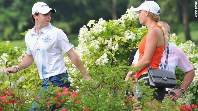 McIlroy took a break last week to watch Wozniacki's final tournament of the year, and she returned the compliment as he returned to action following his &quot;Duel at Jinsha Lake&quot; against Tiger Woods. 