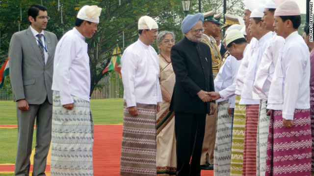 Manmohan Singh, the first Indian premier to visit Myanmar in a quarter of a century, met President Thein Sein in the capital on May 28, signing deals aimed at boosting trade and energy links and contesting the influence of regional rival China.