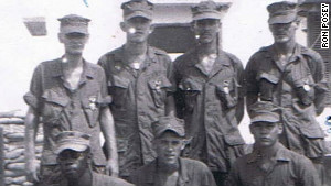 Ron Posey, second from right on the top row, with other Marines who fought in Operation SWIFT. 