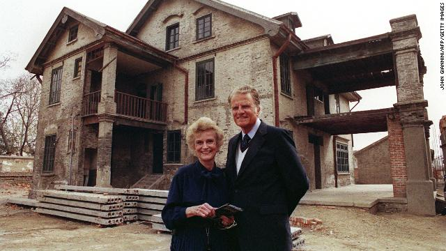 Graham and his wife, Ruth, visit her birthplace in Huaiyin, Jiangsu province, China, on April 19, 1988. They were married in 1943 and stayed together until her death on June 14, 2007.
