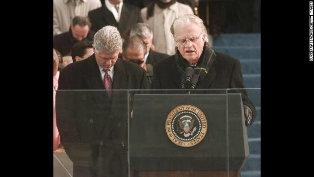 On January 20, 1997, Graham gives the invocation at the inaugural ceremony for President Bill Clinton on Capitol Hill.