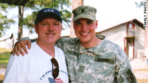Robert with Mike at Fort Stewart before Mike\'s National Guard unit left for Iraq in the summer of 2005. 